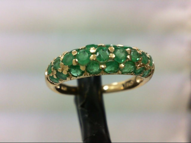 Emerald Lady's Stone Ring 14K Yellow Gold 2.9g Size:7