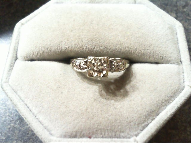 Lady's Diamond Engagement Ring .02 CT. 14K White Gold 2.2g