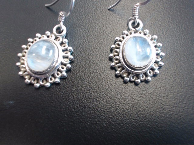 Synthetic Moonstone Silver-Stone Earrings 925 Silver 7.91g