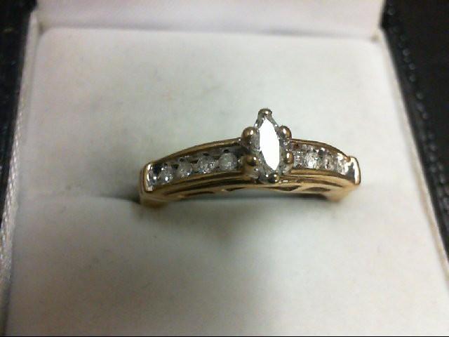 Lady's Diamond Engagement Ring 19 Diamonds 0.58 Carat T.W. 10K Yellow Gold 2.4g