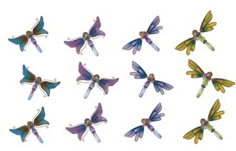 G, CHEN 97699; (X-1) DRAGONFLY STAINED GLASS LOOK MAGNET