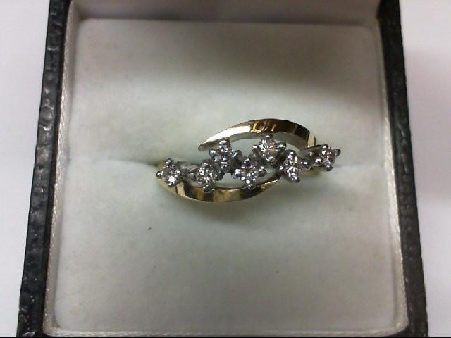 Lady's Diamond Cluster Ring 7 Diamonds .35 Carat T.W. 14K Yellow Gold 3.5g