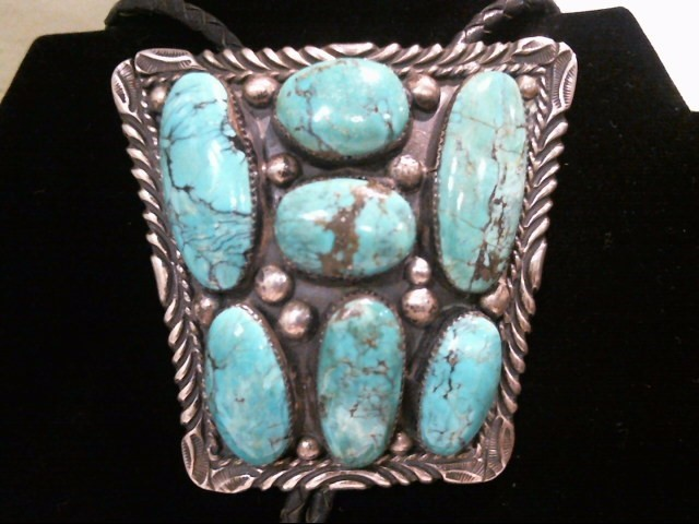 Silver Turquoise Bolo Tie .925