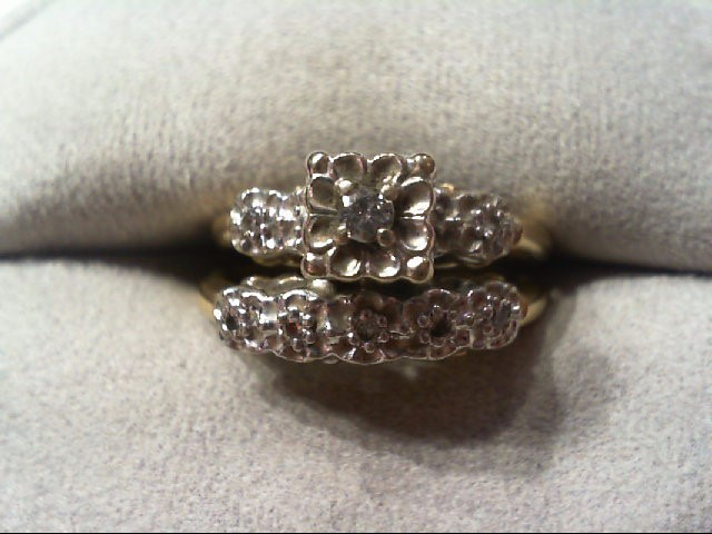 Lady's Diamond Wedding Set 8 Diamonds .12 Carat T.W. 10K 2 Tone Gold 3.9g