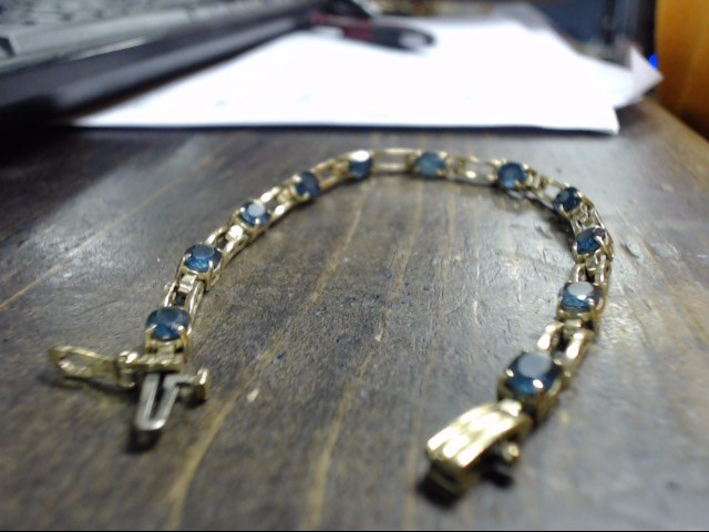 Blue Stone Gold-Stone Bracelet 14K Yellow Gold 10.6g