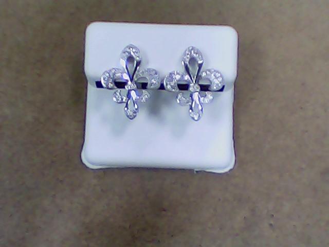 White Stone Silver-Stone Earrings 925 Silver 3.4g