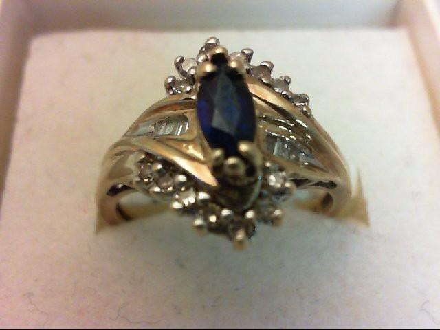 Sapphire Lady's Stone & Diamond Ring 20 Diamonds 0.2 Carat T.W. 10K Yellow Gold