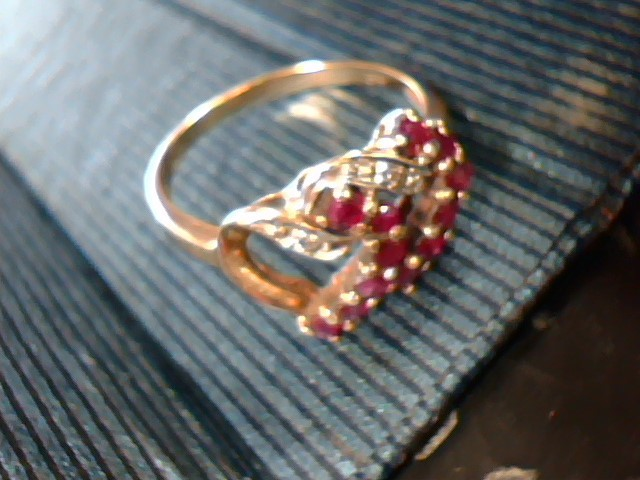 Synthetic Carnelian Lady's Stone Ring 10K Yellow Gold 1.2dwt