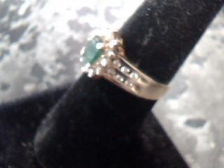 Synthetic Emerald Lady's Stone & Diamond Ring 24 Diamonds .72 Carat T.W.