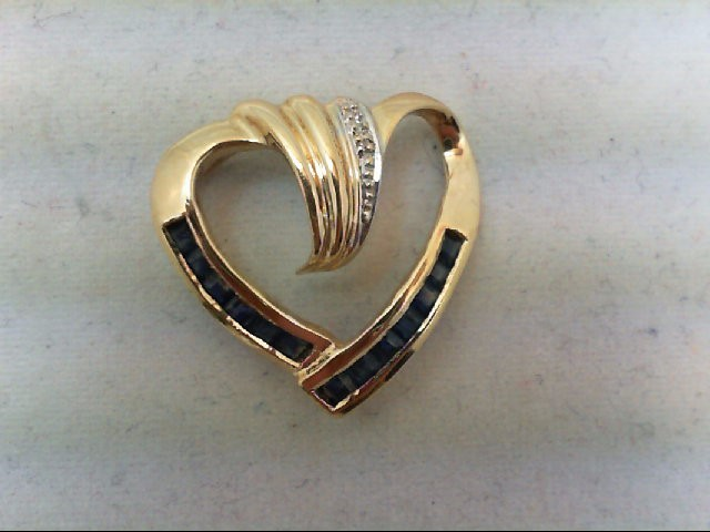 Sapphire Gold-Diamond & Stone Pendant .01 CT. 14K Yellow Gold 2g