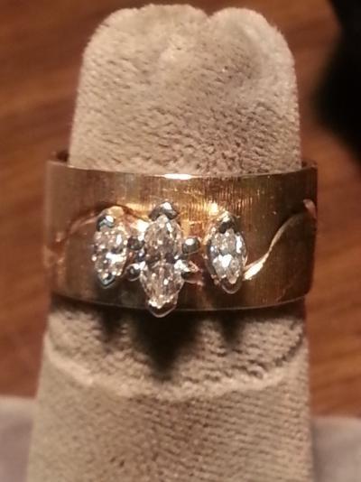 Lady's Diamond Solitaire Ring 3 Diamonds .52 Carat T.W. 14K Yellow Gold 3.9dwt