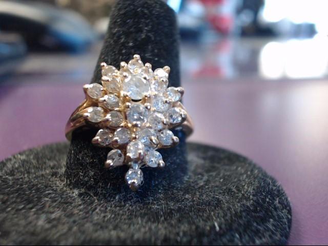 Lady's Diamond Fashion Ring 26 Diamonds 1.30 Carat T.W. 14K Yellow Gold 5.1g