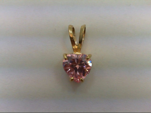 Synthetic Pink Stone Gold-Stone Pendant 14K Yellow Gold 1.6g
