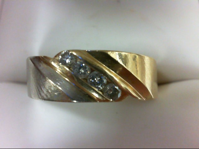 Lady's Diamond Wedding Band 4 Diamonds 0.25 Carat T.W. 14K 2 Tone Gold 6.4g Size