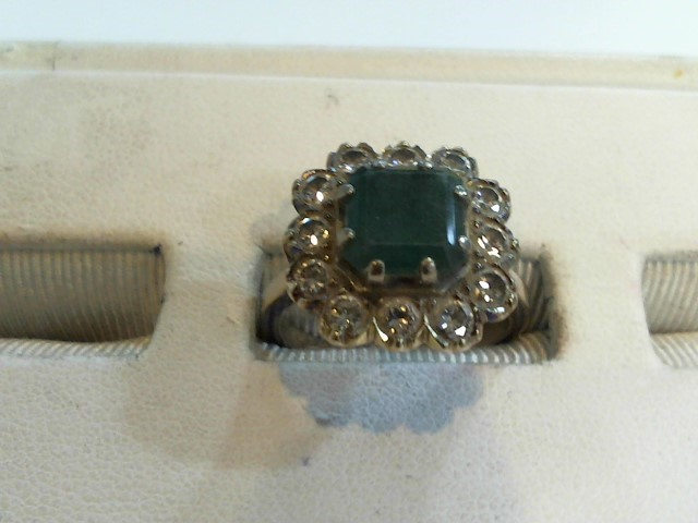 Synthetic Emerald Lady's Stone & Diamond Ring 12 Diamonds .96 Carat T.W.