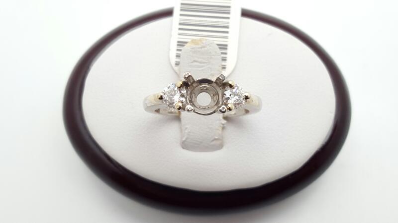 Lady's Diamond Engagement Ring 2 Diamonds .50 Carat T.W. 14K White Gold 4.3g
