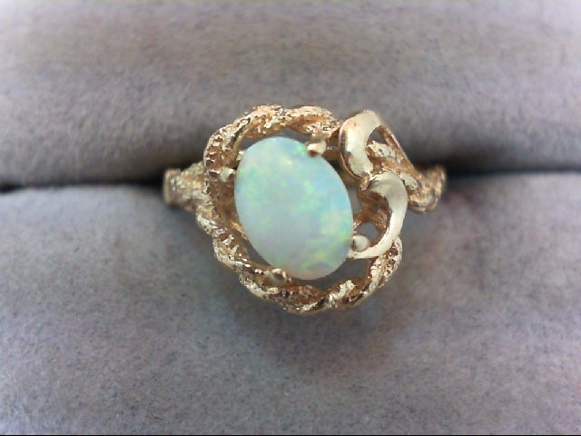 Opal Lady's Stone Ring 14K Yellow Gold 2.3g
