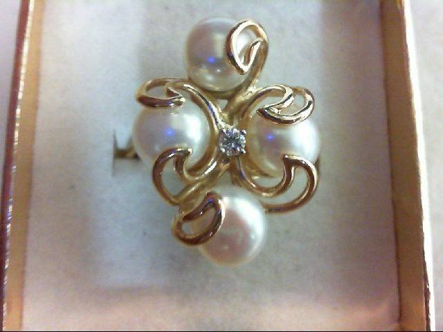 Pearl Lady's Stone & Diamond Ring .05 CT. 14K Yellow Gold 7.4g Size:6.8