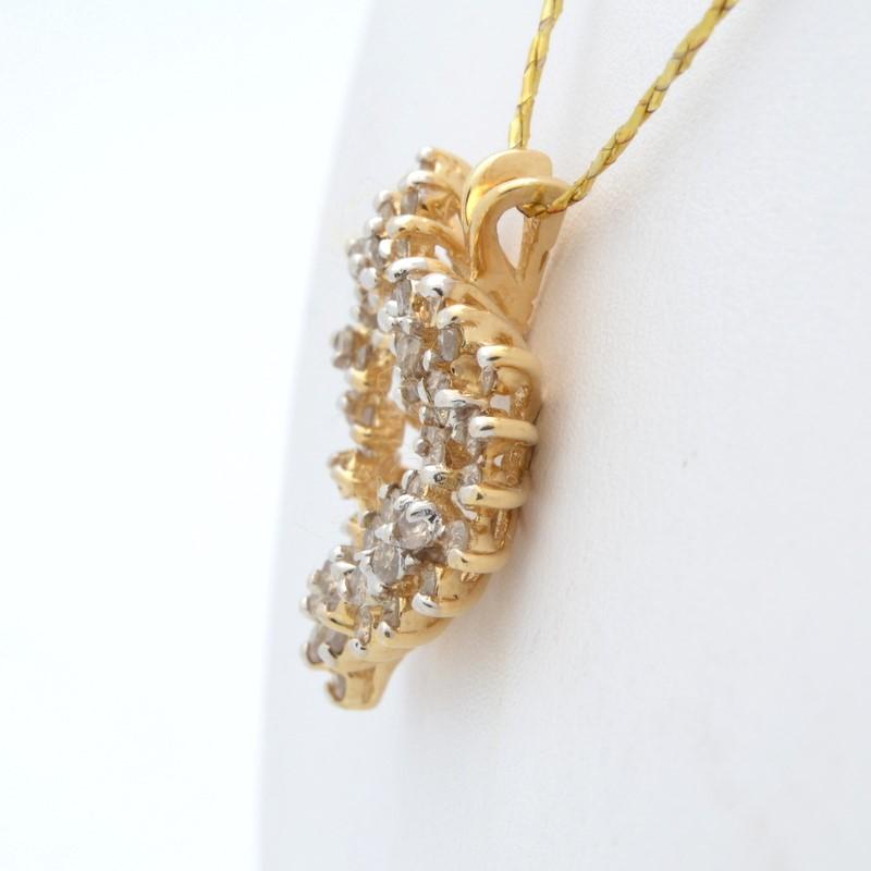 ESTATE DIAMOND HEART CLUSTER PENDANT CHARM SOLID 14K GOLD LOVE FINE