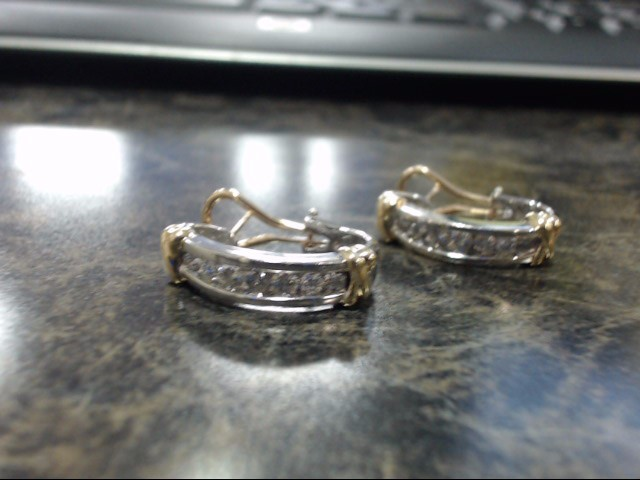 Gold Earrings 14K 2 Tone Gold 8.8g