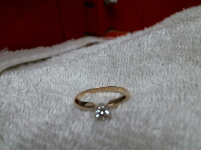 Lady's Diamond Solitaire Ring 2 Diamonds .60 Carat T.W. 10K Yellow Gold 1.5dwt