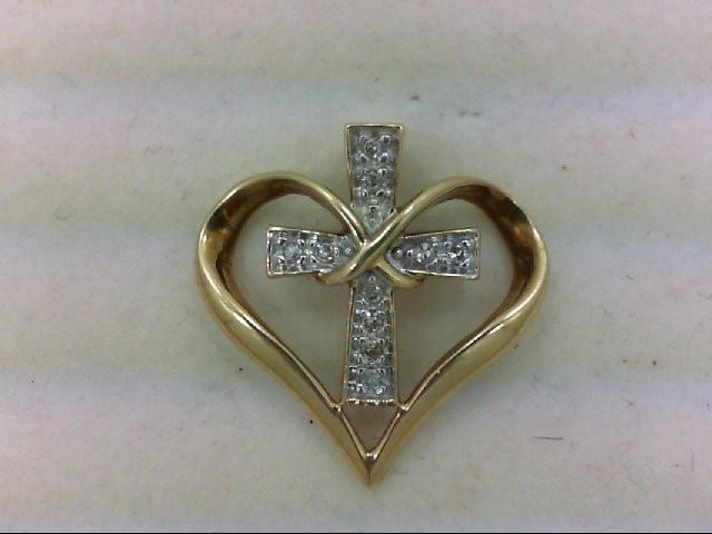 Gold-Multi-Diamond Pendant 10 Diamonds .10 Carat T.W. 10K Yellow Gold 2.1g