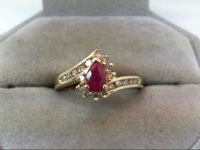 Ruby Lady's Stone & Diamond Ring 19 Diamonds .48 Carat T.W. 14K Yellow Gold
