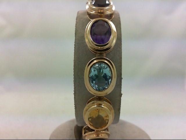 Almandite Garnet Gold-Stone Bracelet 14K Yellow Gold 18.7g