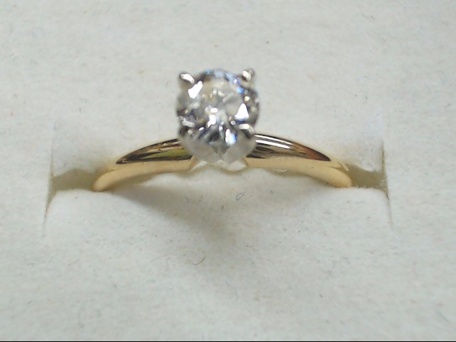 Lady's Diamond Solitaire Ring .50 CT. 14K Yellow Gold 1.7g Size:6.5