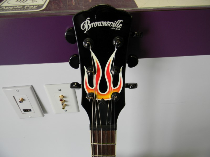 Brownsville 6 String Black Electric Guitar with Flames *ON FIRE!*