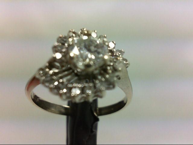 Lady's Diamond Cluster Ring 21 Diamonds 0.7 Carat T.W. 14K White Gold 2.8g