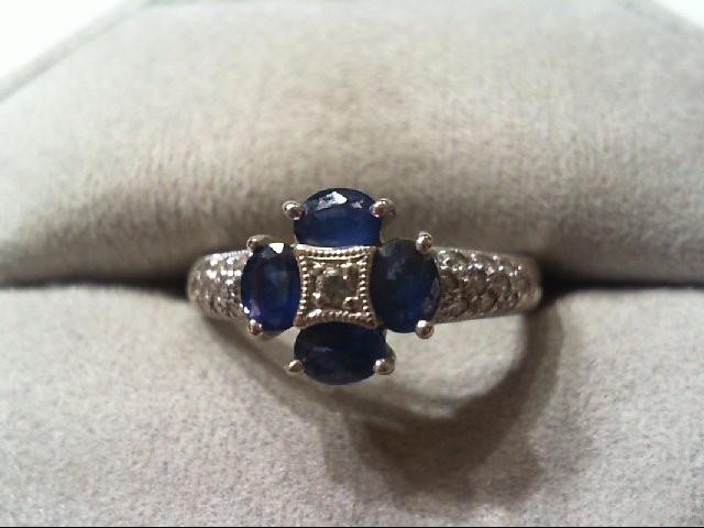 Blue Stone Lady's Stone & Diamond Ring 21 Diamonds .23 Carat T.W.
