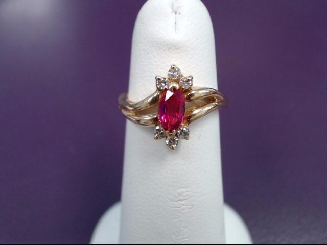 Ruby Lady's Stone & Diamond Ring 6 Diamonds .06 Carat T.W. 18K Yellow Gold 4g