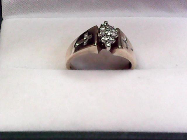 Lady's Diamond Fashion Ring 12 Diamonds .12 Carat T.W. 10K Yellow Gold 2.25dwt