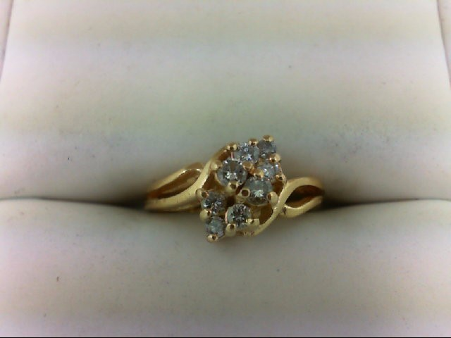 Lady's Diamond Cluster Ring 8 Diamonds 0.24 Carat T.W. 14K Yellow Gold 3g