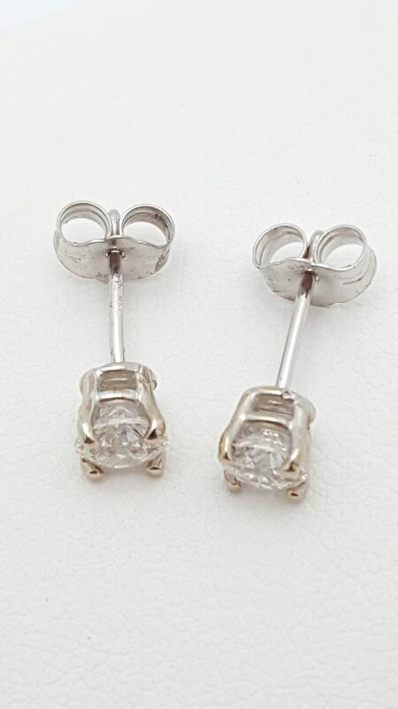Gold-Diamond Earrings 2 Diamonds .70 Carat T.W. 14K White Gold 0.9g