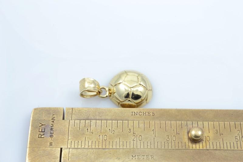 SOCCER BALL CHARM PENDANT SOLID 10K YELLOW GOLD FINE 3D SPORT 2.1G