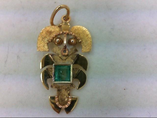 Emerald Gold-Stone Pendant 18K Yellow Gold 1.6g