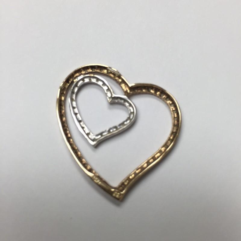 Gold-Multi-Diamond Pendant 75 Diamonds .375 Carat T.W. 10K 2 Tone Gold 2dwt