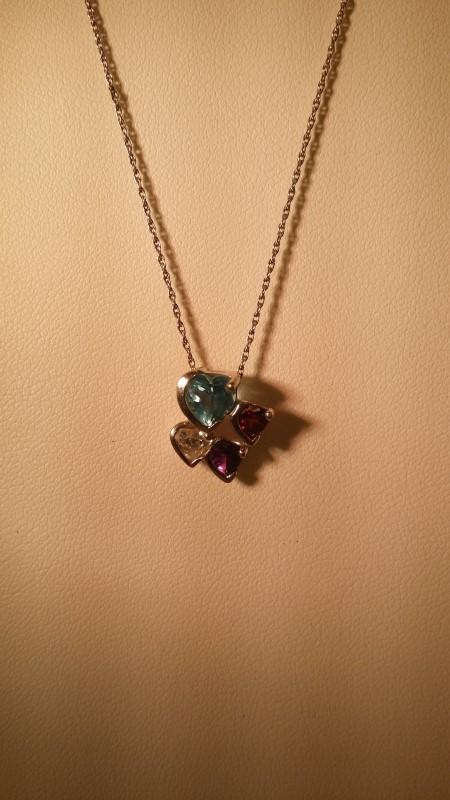 Synthetic Amethyst Gold-Diamond & Stone Pendant .33 CT. 14K White Gold 2.8g