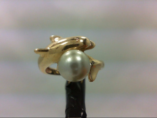 Pearl Lady's Stone Ring 14K Yellow Gold 3.7g
