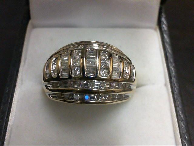 Lady's Diamond Cluster Ring 72 Diamonds 0.82 Carat T.W. 10K Yellow Gold 6.7g