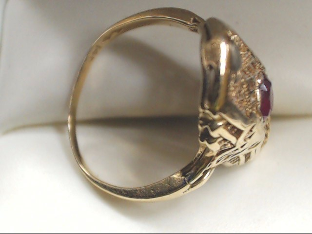 Red Stone Lady's Stone Ring 14K Yellow Gold 2.8g Size:7.5