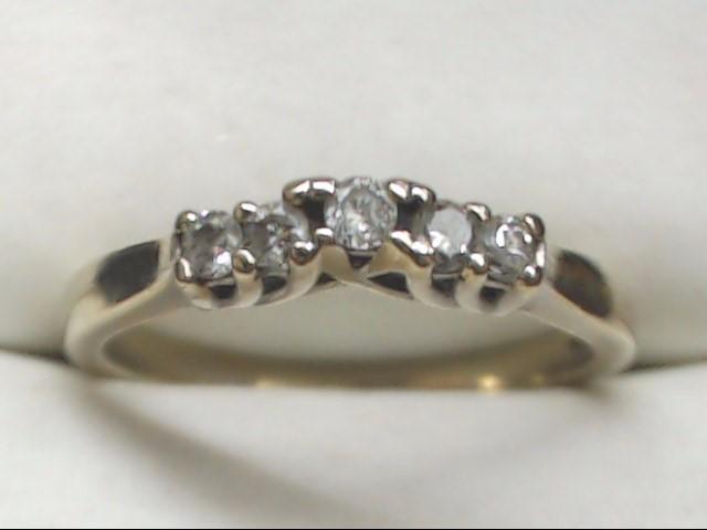 Lady's Gold-Diamond Anniversary Ring 5 Diamonds .25 Carat T.W. 14K White Gold
