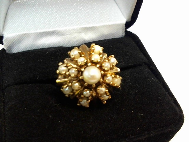 Synthetic Pearl Lady's Stone Ring 10K Yellow Gold 4.2dwt