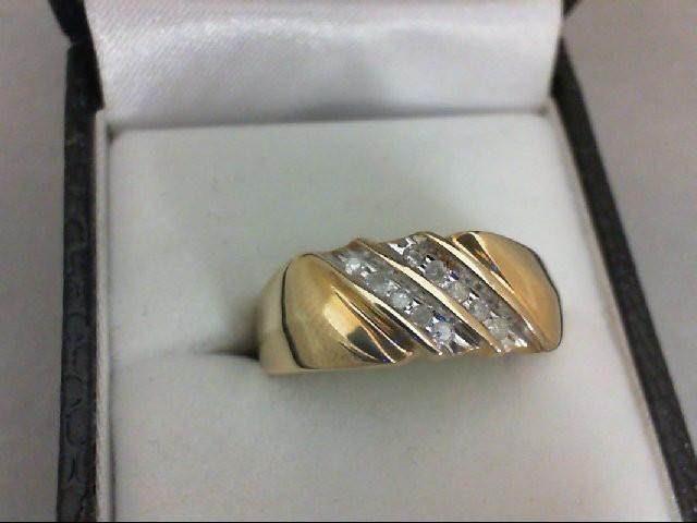 Gent's Gold-Diamond Wedding Band 10 Diamonds 0.1 Carat T.W. 10K Yellow Gold 3.3g