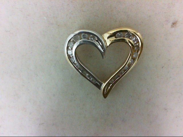 Gold-Multi-Diamond Pendant 20 Diamonds 0.4 Carat T.W. 10K 2 Tone Gold 1.6g