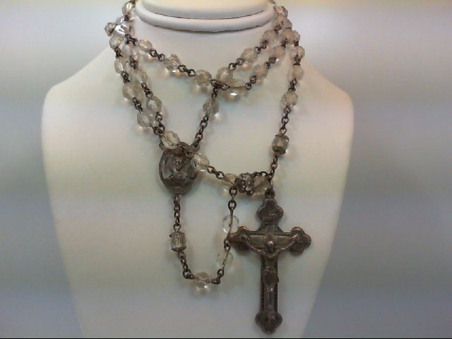 35.9 GM SILVER VINTAGE GLASS BEAD ROSARY