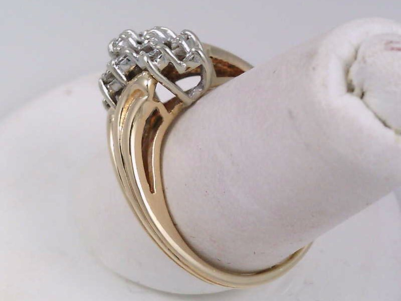 Estate Fine Diamond Cluster Ring Fashion 14k Yellow Gold Size 5.5