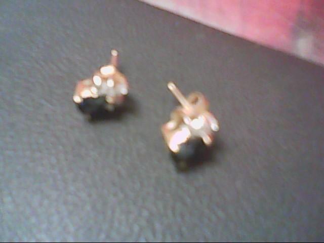 Synthetic Sapphire Gold-Diamond & Stone Earrings 10 Diamonds .10 Carat T.W.